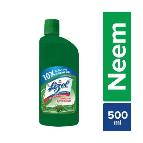 Lizol Disinfectant Surface Cleaner Neem 500 ml Liquid Bottle (10X Cleaning & 99.9% Germ Kill)_Front Information