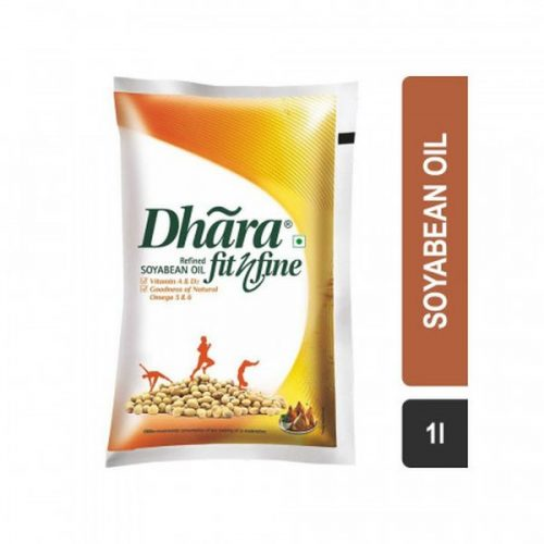 Dhara Fit N Fine Refined Soyabean Oil Pouch (1L)_Front Detail