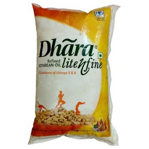 Dhara Fit N Fine Refined Soyabean Oil Pouch (1L)_Front Side