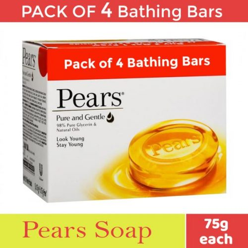 Pears Pure & Gentle Glycerin & Natural Oils Bathing Soap 75 g (Buy 3 Get 1 Free)_Front Detail